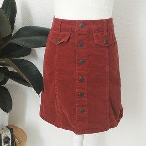 Button Down Corduroy Mini Skirt - Maroon XSmall